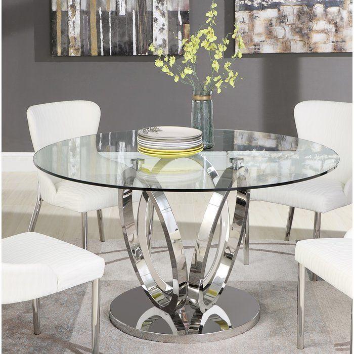Orren Ellis Wilder Dining Table Reviews Wayfair Ca Glass Round Dining Table Glass Dining Room Table Dining Room Table Decor