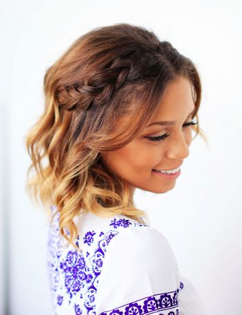 Half Dutch Braided Crown by @ashleyymari3 on her short hair! Click to learn how to recreate this hairstyle for short hair!   #LuxyHair #ShortHairstyles #OmbreHairstyles                                                                                                                                                     More