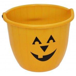 Haunted House Large Halloween Candy Bucket - Pumpkin Face Trick Or Treat Jumbo Plastic Bucket With Handle ~ Orange