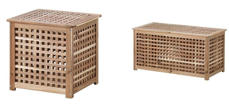 Ikea hol acacia solid wooden storage boxlaundry basket