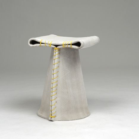 Stitching Concrete stools. Florian Schmid made these stools by folding fabric that's impregnated with cement