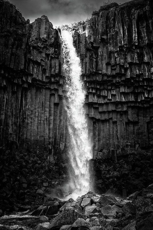 Svartifoss waterfall in Iceland Art Print for sale, black and white photo with stark contrast. Available as poster, framed fine art print, metal, acrylic or canvas print. Matthias Hauser hauserfoto.com - Art for your Home Decor and Interior Design needs.