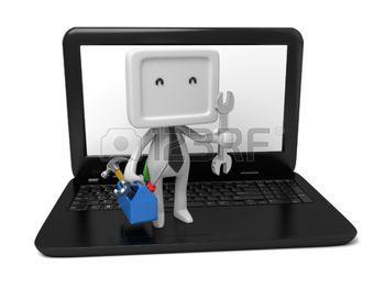 Gente 3d con una caja de herramientas en la computadora port�til. Imagen en 3D. Fondo blanco aislado. photo