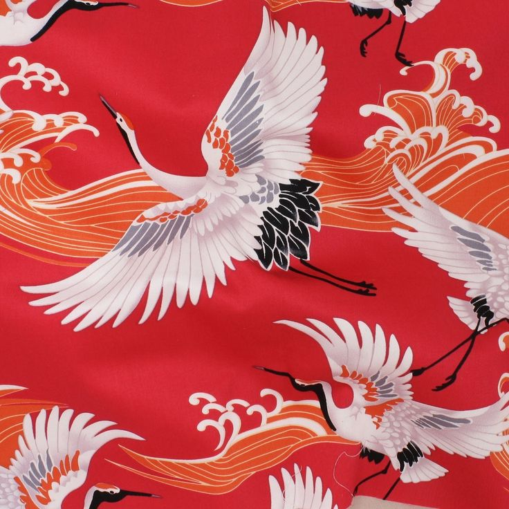 Stretch Cotton Sateen Print - Japanese Cranes on Red - Distinctive Sewing Supplies
