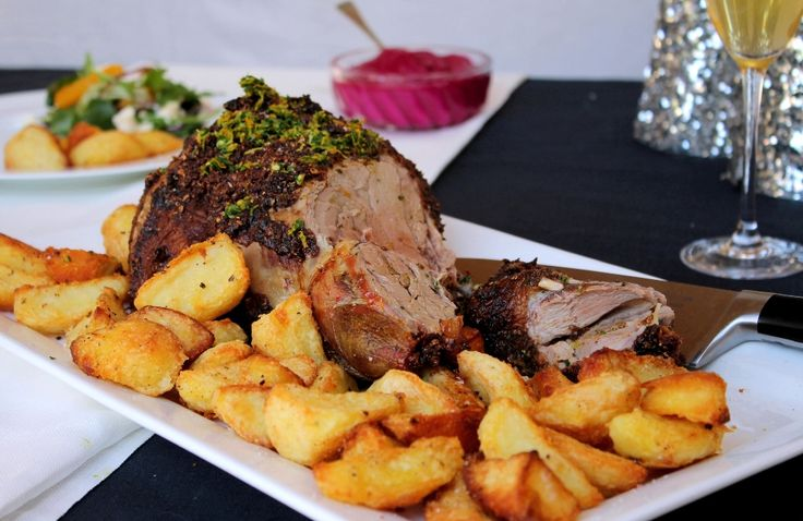Roasted Moroccan lamb with orange gremolata & roasted beetroot sauce