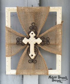 Ceramic Cross | Burlap Trim | Wood Frame | Home Decor | Rustic | Religious | White Cross | Faith | #0101 by MarceeDuggarDesigns on Etsy