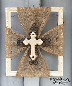 Ceramic Cross | Burlap Trim | Wood Frame | Home Decor | Rustic | Religious | White Cross | Faith | #0101 by MarceeDuggarDesigns on Etsy