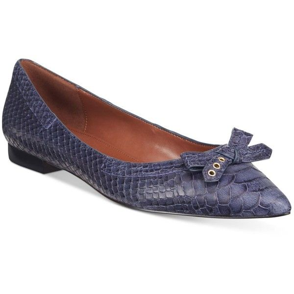 Cole Haan Alice Skimmer Bow Flats ($90) ❤ liked on Polyvore featuring shoes, flats, blue, blue flat shoes, ballet shoes, blue ballet shoes, blue ballet flats and flat pumps