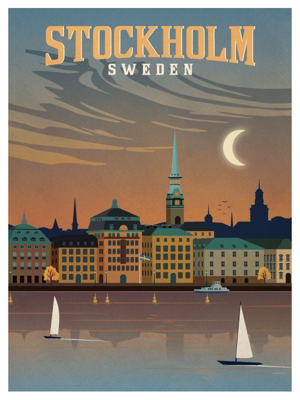 Vintage stockholm poster print smaller