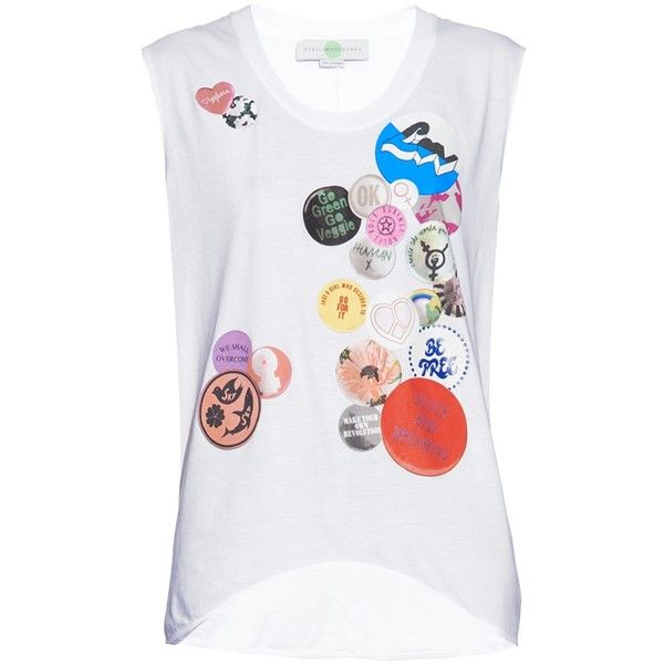 Stella McCartney Badge-print cotton T-shirt (£96) ❤ liked on Polyvore featuring tops, t-shirts, print t shirts, patterned tees, white top, slouchy tee and white tee