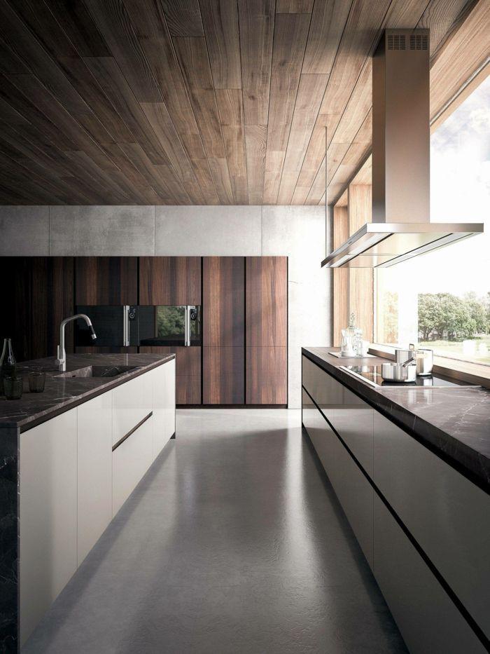 cuisine-de-luxe-lignes-épurées-îlot-de-cuisine-noir-et-blanc-hotte
