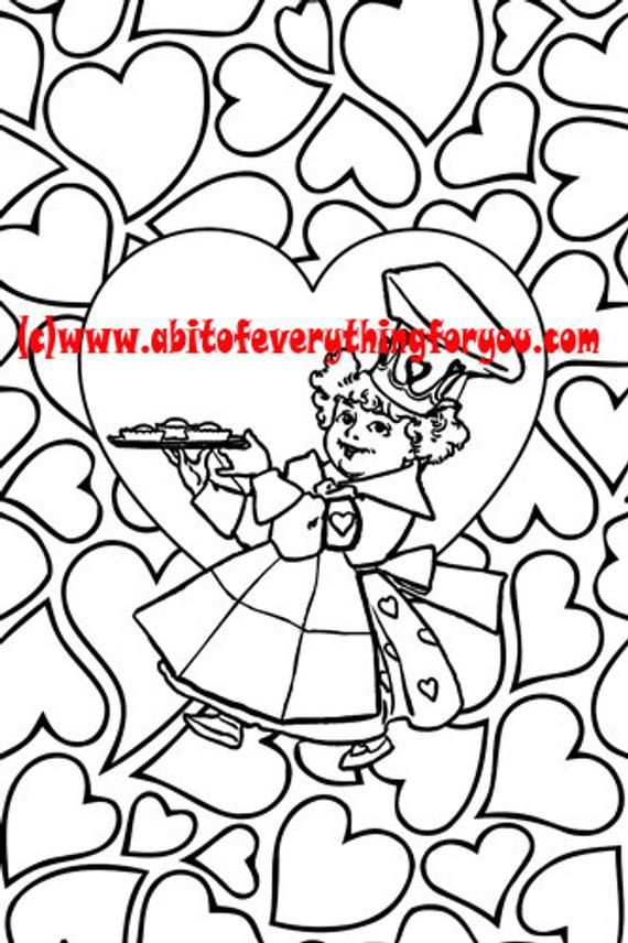 Queen Of Hearts Pattern Art Coloring Page Printable Art Download