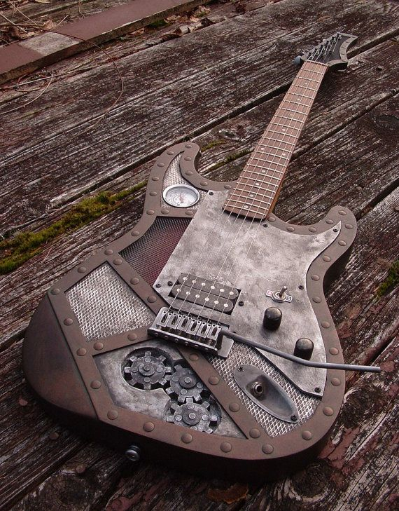 steampunk fender style custom guitar weathered copper color paint on body headstock. Black Bedroom Furniture Sets. Home Design Ideas