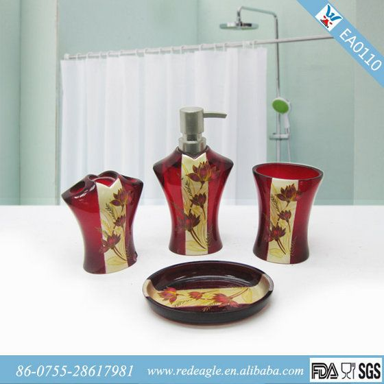 Best  Red Bathroom Accessories Ideas On Pinterest Diy Cream - Red bathroom accessories sets