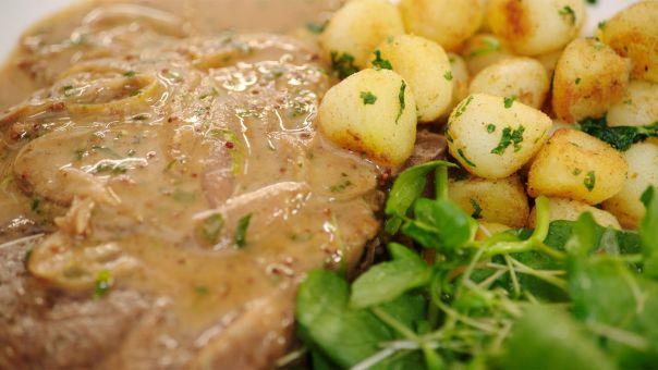 Eén - Dagelijkse kost - Varkensspiering met Parisienne aardappelen en waterkers   Eén