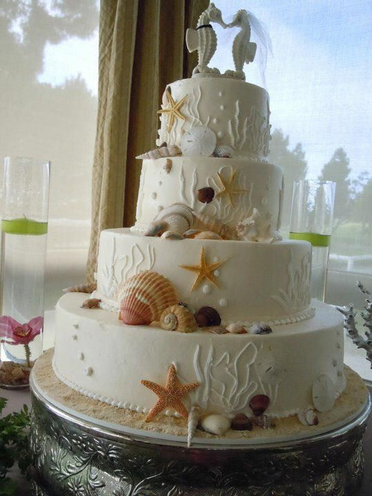where can i buy cheap jewelry Awesome beach wedding cake with cute seahorses