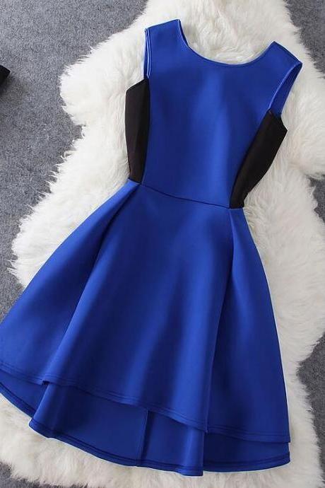 Bastante azul real corto corto alto V-back vestidos de fiesta de verano en la acción, vestidos azules de las mujeres