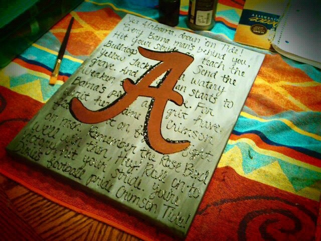 "This is an 11x14in. canvas. I've painted the background different shades of gray with the Alabama Fight Song in dimensional paint on the background. The ""A"" in the middle is obviously the Alabama Crimson Tide symbol :) $35"