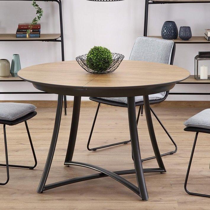 Table Ronde Design Avec Rallonge Plateau Bois Pied Metal Gris Steel Salleamangercocooning Pratique Grace A Sa
