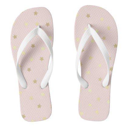 aeb09ead4a33f Golden Stars on Pink Flip Flops - elegant wedding gifts diy accessories  ideas