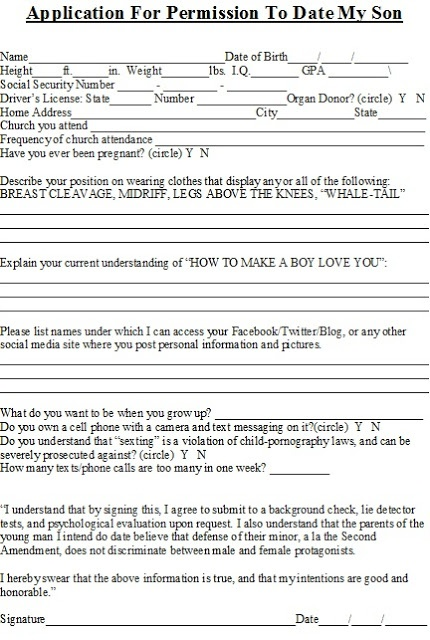 Application form for dating my son