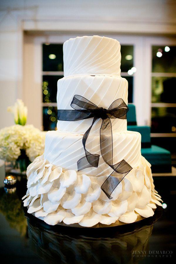 Liv by Design | Jenny DeMarco Photography | Studio Fisher Wedding | Renaissance Florals | Ilios Lighting | Black and White Wedding | Simon Lee Bakery | Four Tier White Wedding Cake | Petal Wedding Cake