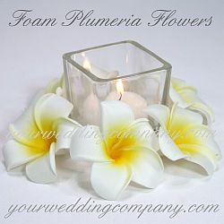 Plumeria (Frangipani) Foam Flower Accents - Durable foam flowers that closely resemble the real ones. Great for wedding decorations, hair accessories, bouquet & centerpiece accents. http://www.yourweddingcompany.com