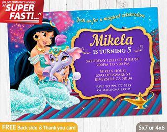 Invitar a princesa jazmín invitación para imprimir, invitación de cumpleaños de Aladdin, princesa Jasmine, princesa jazmín partido invitación, v1