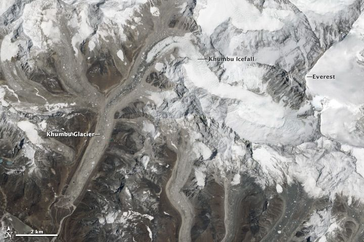 Glaciar y cascada de hielo Khumbu, monte Everest, Nepal