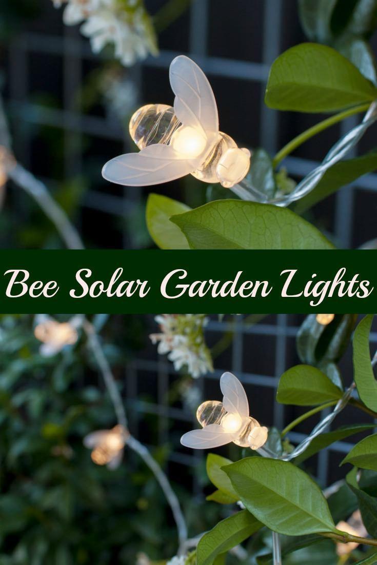 20 Warm White LED Bee Solar Garden String Lights