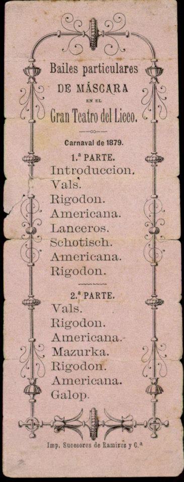 Programa del Ball de Màscara al Gran Teatre del Liceu. 1879.    Font: Arxiu Municipal de Barcelona.