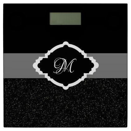Monochrome Monogram Black White Bathroom Scales - glitter glamour brilliance sparkle design idea diy elegant