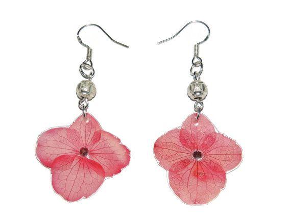 Pendientes de Hortensia. Aretes de flores reales.  Joyeria fucsia. Pendientes rosados. Flores secas. Flores inmortalizadas.