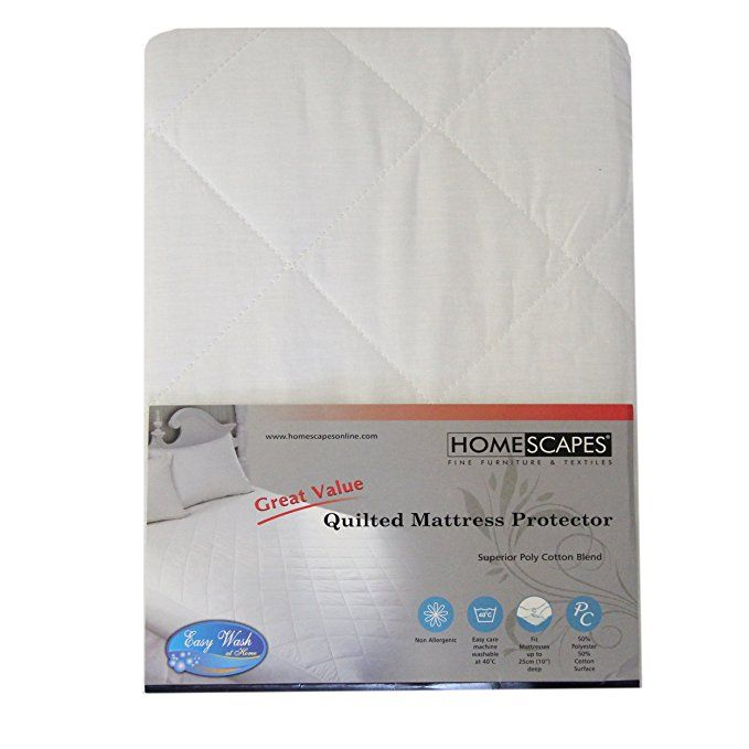 Homescapes Small Double Size Polycotton Quilted Mattress Protector 25 Cm Deep Fitted Non Allergenic Bedding Protector 120 X Mattress Protector Mattress Quilted