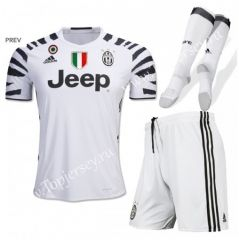 2016-17 Juventus 2nd Away White Kid/Youth Soccer Uniform With Patches and Socks