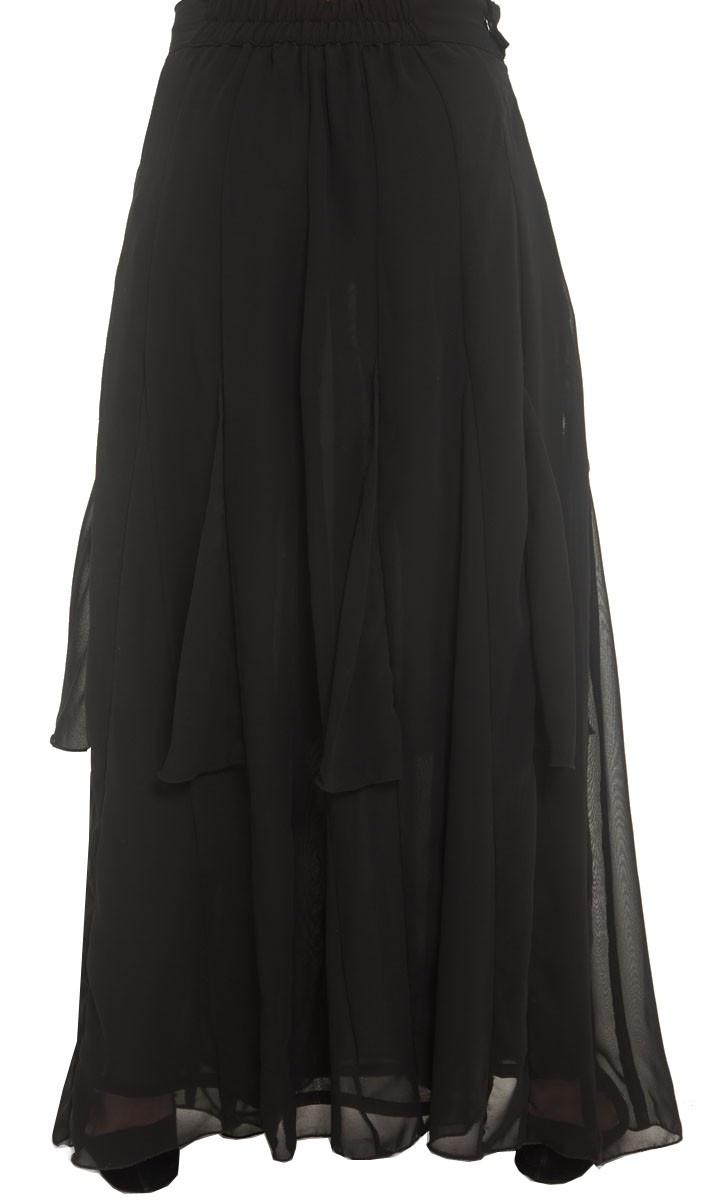 Avia Chiffon Maxi Skirt with Inset Panels - Long Maxi Skirts - Islamic clothing at Artizara.com