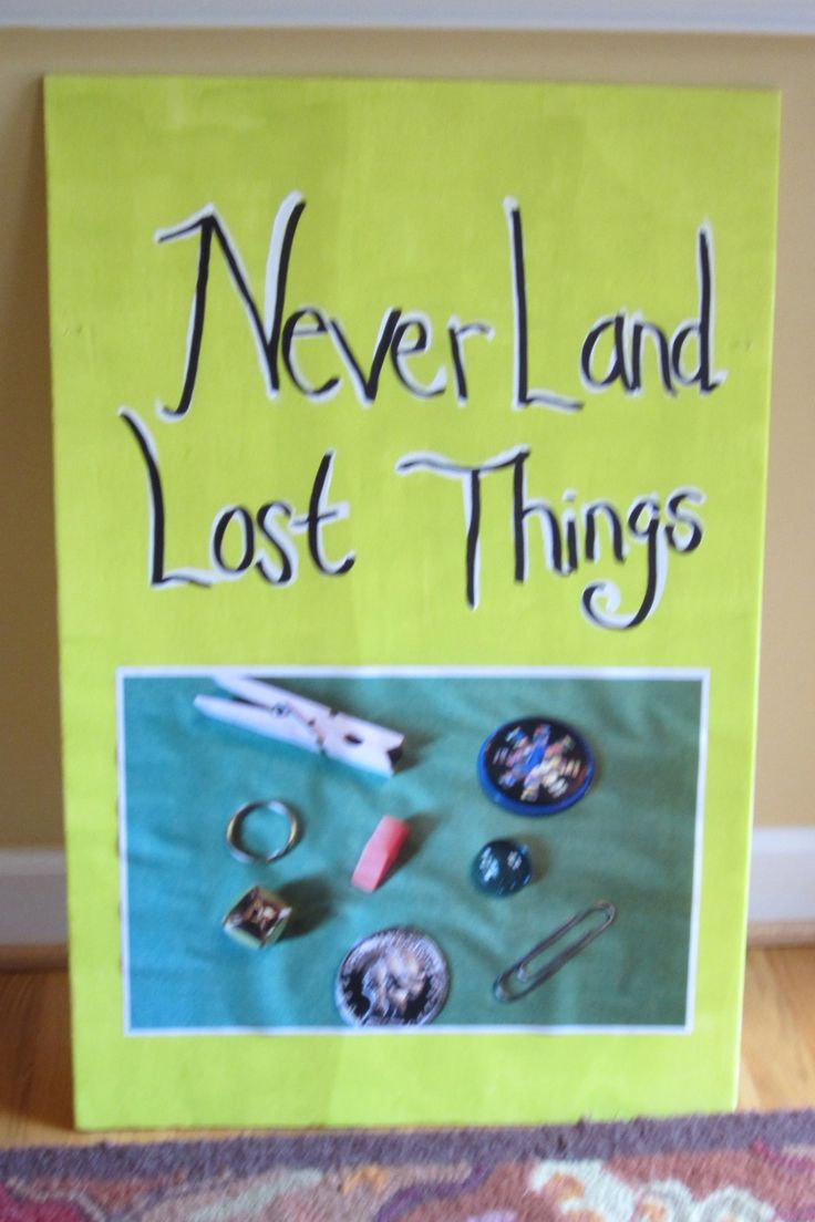 "Tinkerbell/Pixie Hollow Games Party - Never Land Lost Things - chart of what to search for on ""Never Land Beach"" (sandbox). Kids loved this!"