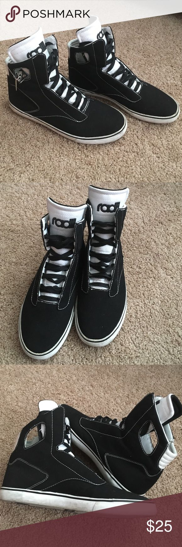 Radii high tops Men's black and white canvas Radii Noble VLC high tops. Some discoloration to white outsoles, back/heel tag is peeling. No longer have original box Radii Shoes Sneakers