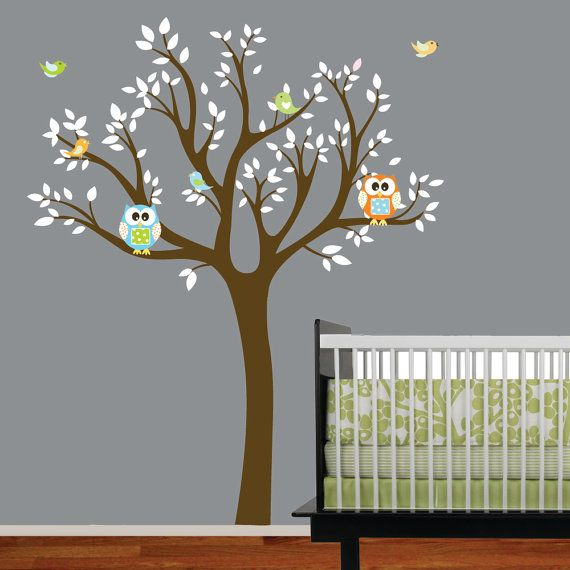 Kids Vinyl Wall Decal Tree Nursery Tree Decals with Owls-Birds. $99.00, via Etsy.
