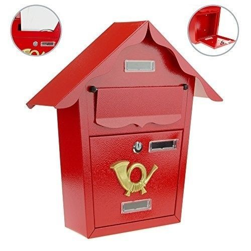 Wall Mounted Mailbox Post Box Metallic Steel Letter Water Resistant Red Paint Uk