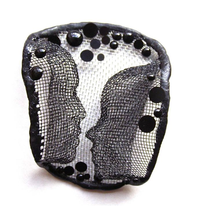 "Alina Carp - brooch   ""Inamorato"", made of steel mesh, resin and silver."