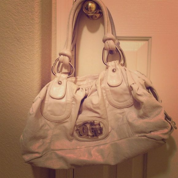 Guess handbag White Guess handbag. Good condition. Some denim staining Guess Bags Totes