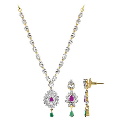 Gold Plated Teardrop Simulated Emerald Ruby and Cubic Zirconia Bollywood Indian Necklace Earrings Set #JS144