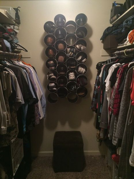 Picture of DIY PVC Wall Mounted Closet Shoe Rack