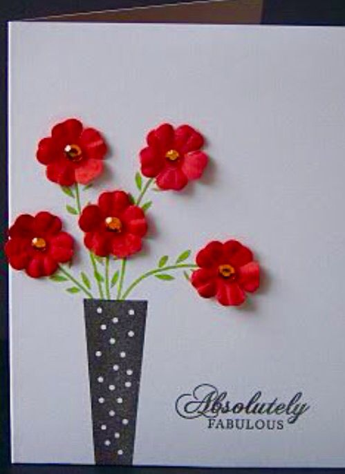 Simple flowers in case card. Can easily recreate DIY for sympathy, birthday, get well card
