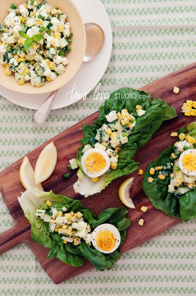Lettuce Cups with Corn, Feta, and Hard-Boiled Eggs | 25 Delicious Ways To Eat Eggs For Dinner