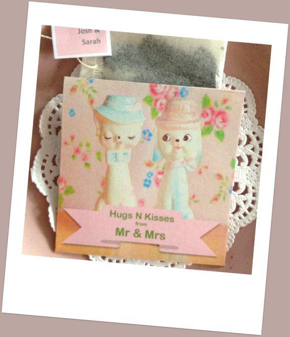 "Tea Bag Favor Handmade ""Hugs N Kisses"" Shower Invitations Wedding or High Tea Favours Retro Figurines Roses- Including Tea Bag"