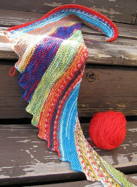 """A great non-boring knitting project: use the """"Hitchhiker"""" scarf/shawl pattern, and make it with several left-over colorful sock yarns rather than only one colorway."""