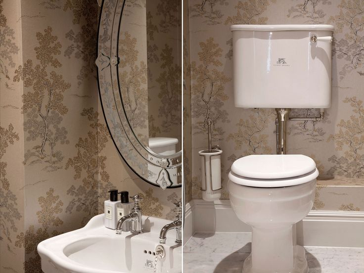 Traditional cloackroom design with stunning mural wallcovering to go with the nickel plated sanitaryware | JHR Interiors