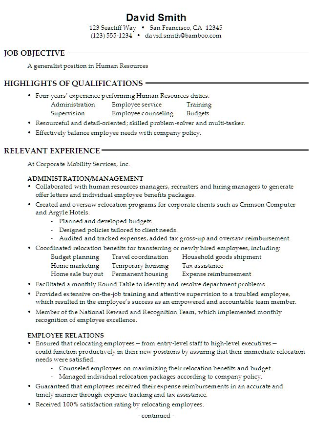 10 best HR RESUME ~ SCHOOL images on Pinterest Resume examples - sales employee relation resume